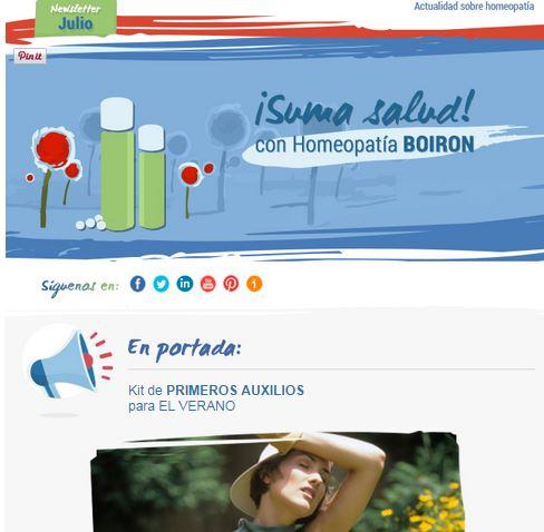 Newsletter Actualidad BOIRON. Julio 2014
