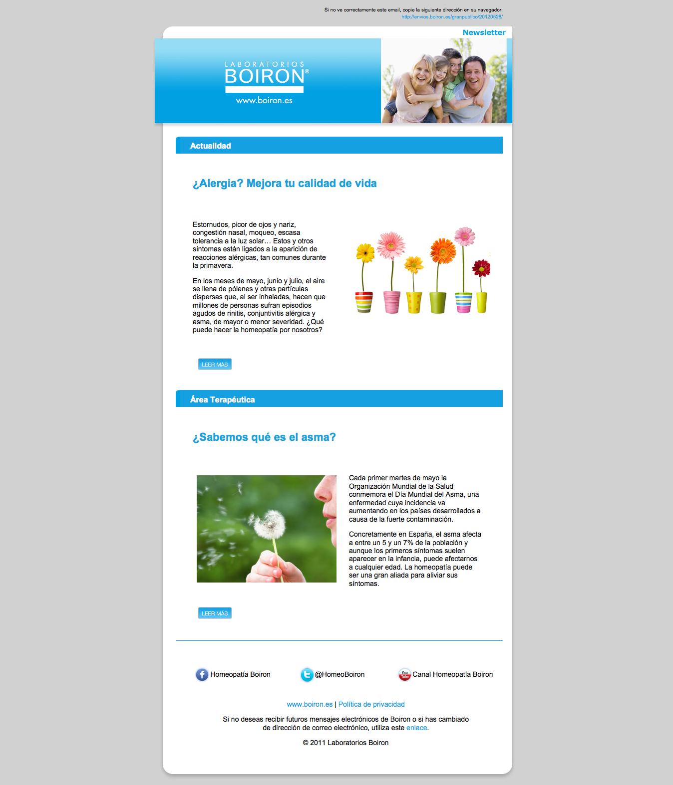 Newsletter Actualidad Boiron. Junio 2012