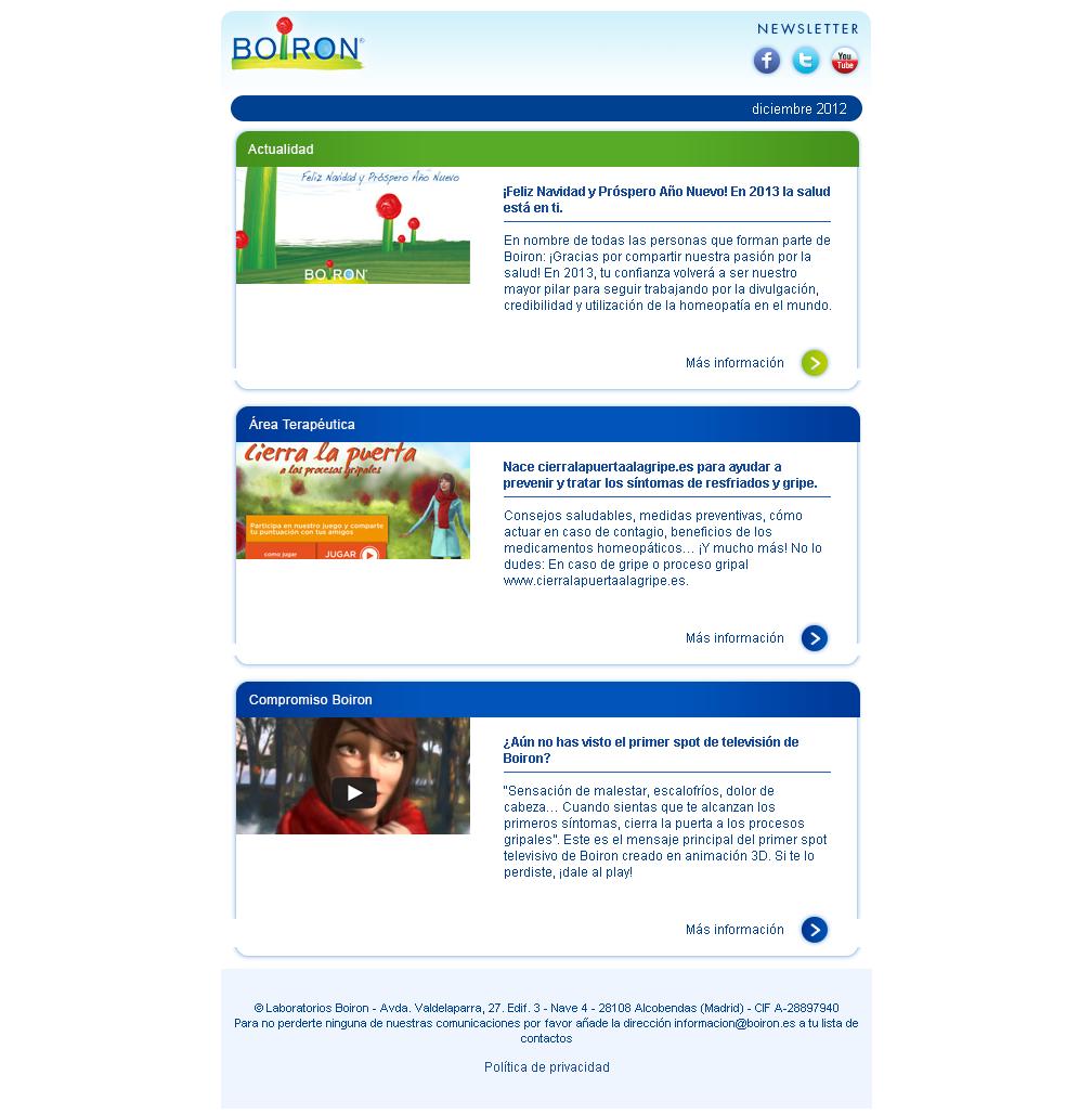 Newsletter Actualidad Boiron. Diciembre 2012